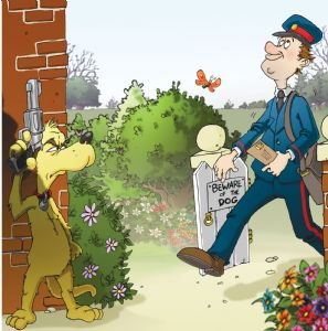 Funny Postman and Dog Card FRA14
